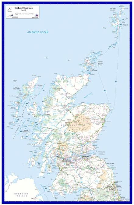 Scotland - Road Wall Map - 2020